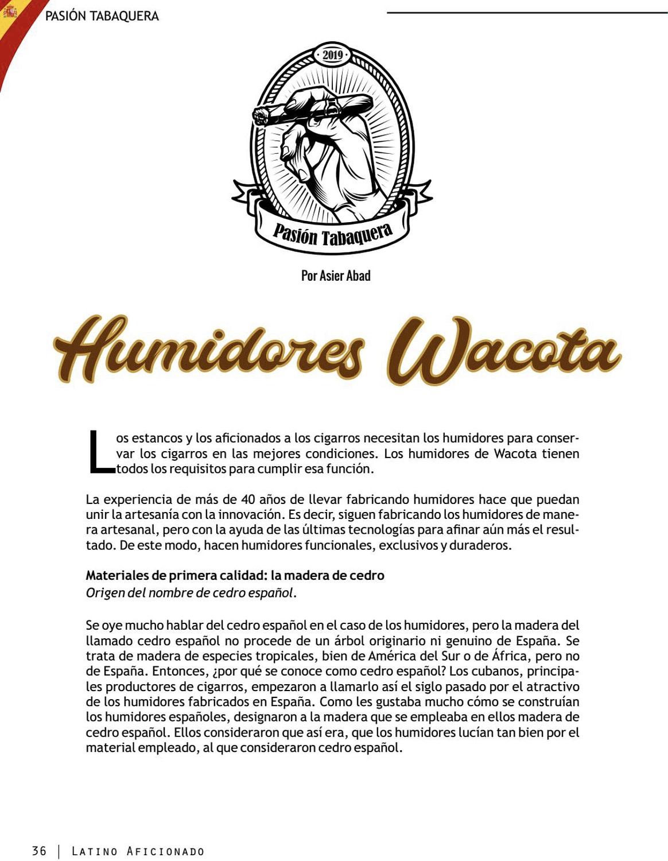 Humidores Wacota en Latino Aficionado