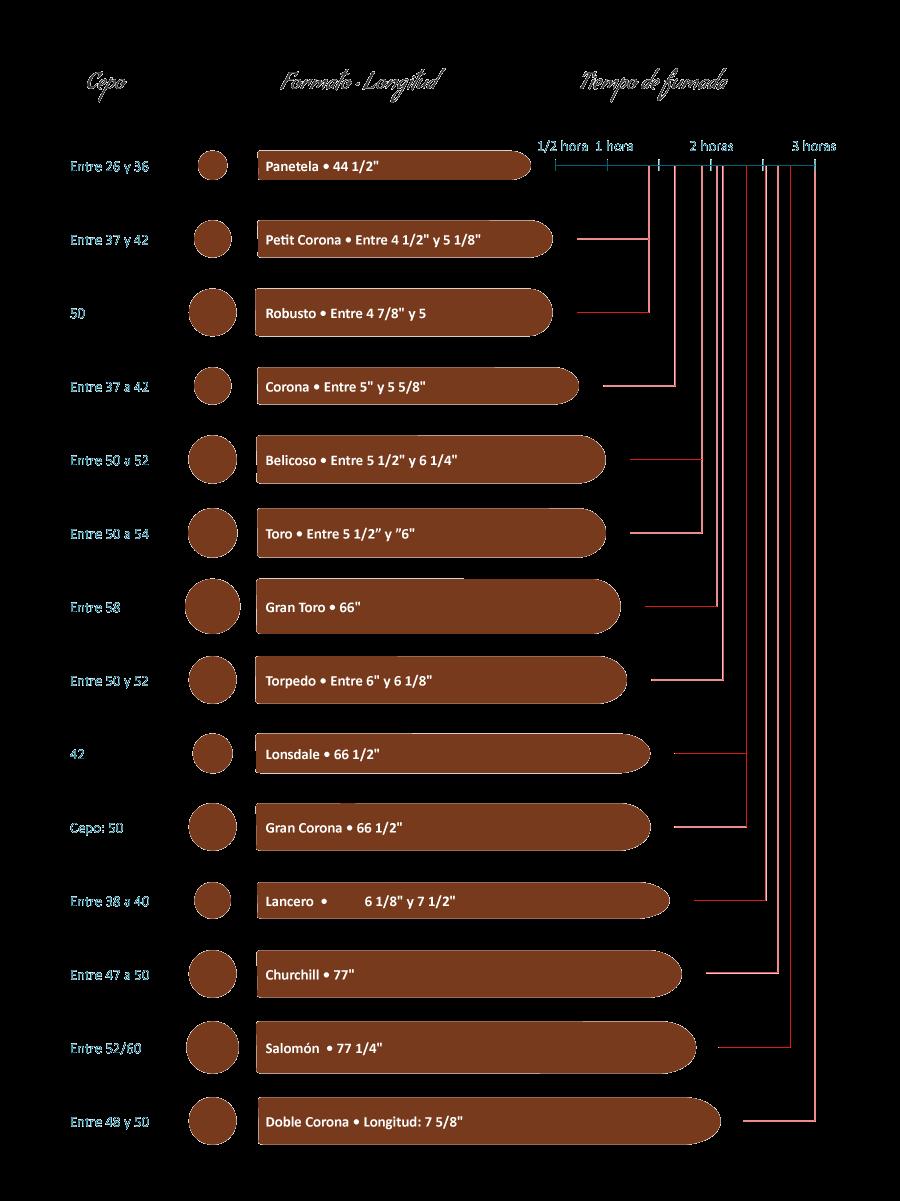 Clasificación de los cigarros puros por medida