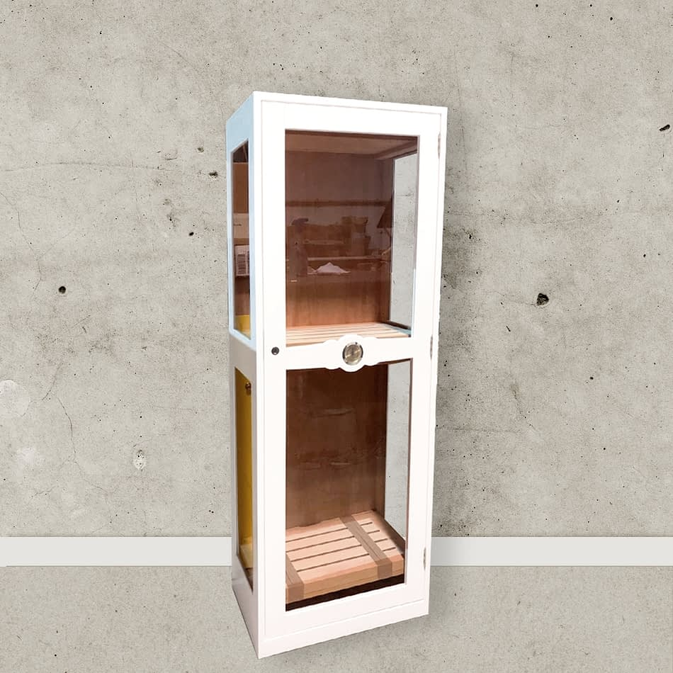 Humidor Glass Imperial white lacquered