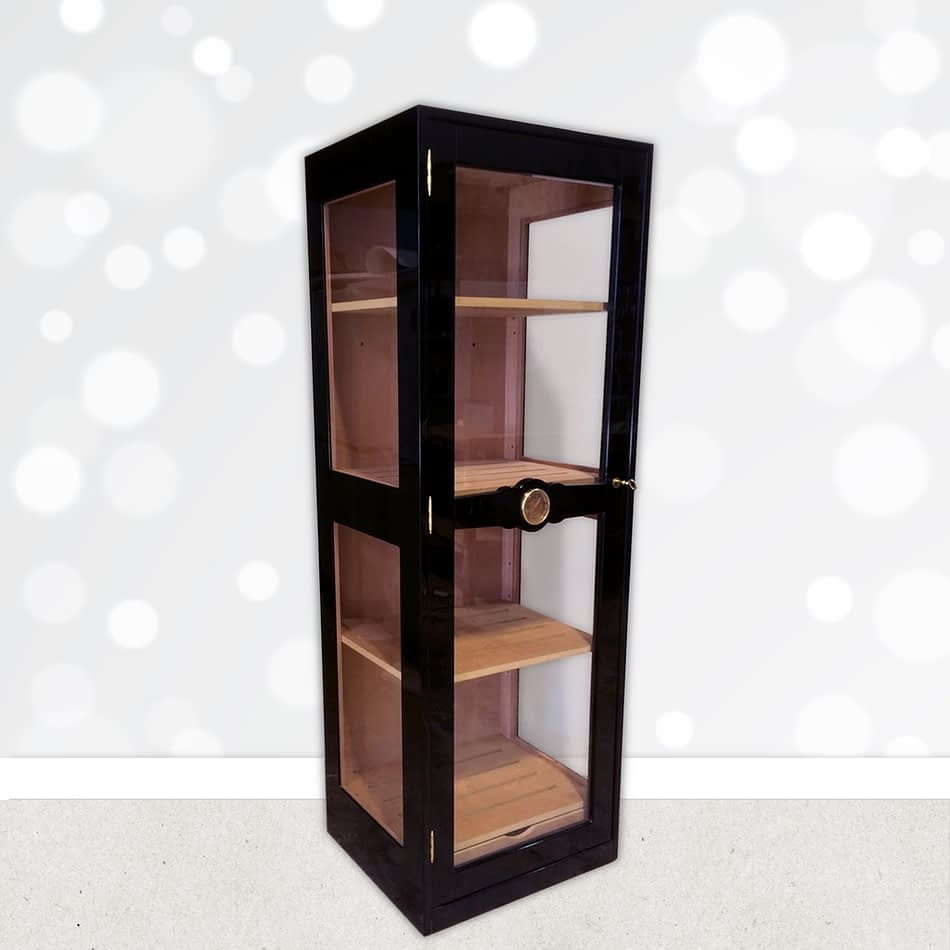 Humidor Glass Imperial black lacquered