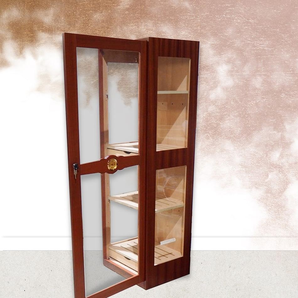 Humidor Glass Imperial walnut open